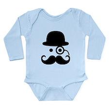 Smiley Mustache monocl Long Sleeve Infant Bodysuit