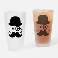 Smiley Mustache monocle Drinking Glass