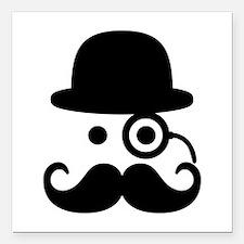 """Smiley Mustache monocle Square Car Magnet 3"""" x 3"""""""