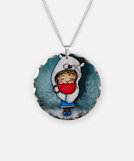 Bear Hug Mug Girl blue background Necklace