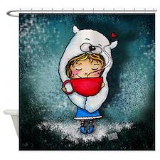 Bear Hug Mug Girl blue background Shower Curtain