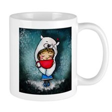 Bear Hug Mug Girl blue background Mugs