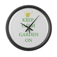 Keep Calm and Garden On Large Wall Clock