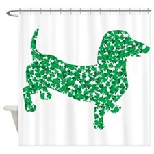 Doxie Made up of Shamrocks Shower Curtain