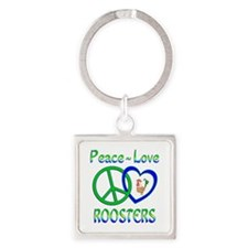 Peace Love Roosters Square Keychain