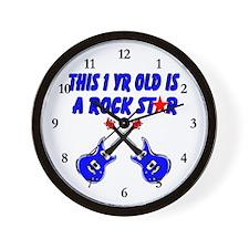 1 YR OLD ROCK STAR Wall Clock