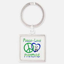 Peace Love Pandas Square Keychain