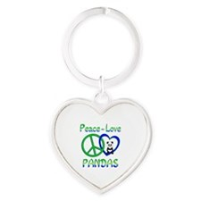 Peace Love Pandas Heart Keychain