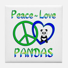 Peace Love Pandas Tile Coaster