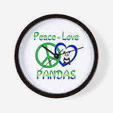 Peace Love Pandas Wall Clock