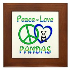 Peace Love Pandas Framed Tile