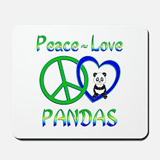 Peace Love Pandas Mousepad