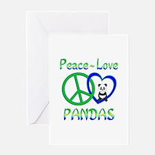 Peace Love Pandas Greeting Card