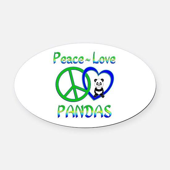 Peace Love Pandas Oval Car Magnet