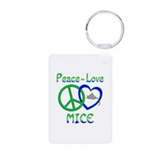 Peace Love Mice Aluminum Photo Keychain