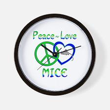Peace Love Mice Wall Clock