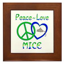 Peace Love Mice Framed Tile