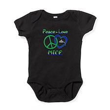 Peace Love Mice Baby Bodysuit