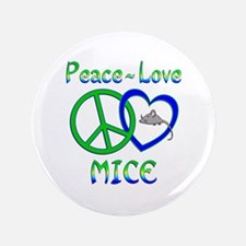"""Peace Love Mice 3.5"""" Button (100 pack)"""