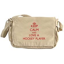 Keep Calm and Love a Hockey Player Messenger Bag