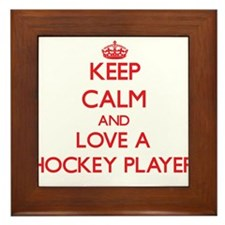 Keep Calm and Love a Hockey Player Framed Tile