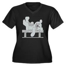RELAXING BEAR Women's Plus Size V-Neck Dark T-Shir