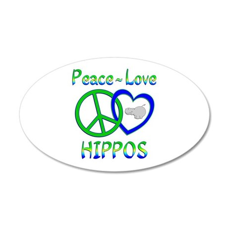 Peace Love Hippos 20x12 Oval Wall Decal