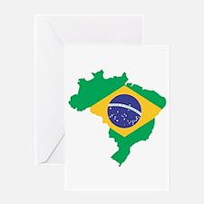 Brazilian Flag Map Greeting Cards