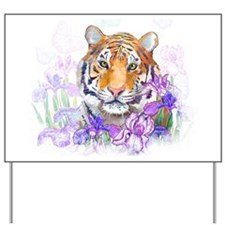 Tiger in Flowers Yard Sign