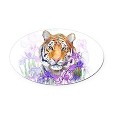 Tiger in Flowers Oval Car Magnet