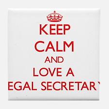 Keep Calm and Love a Legal Secretary Tile Coaster