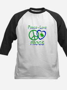 Peace Love Frogs Kids Baseball Jersey