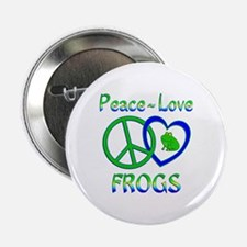 """Peace Love Frogs 2.25"""" Button (10 pack)"""