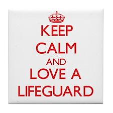 Keep Calm and Love a Lifeguard Tile Coaster
