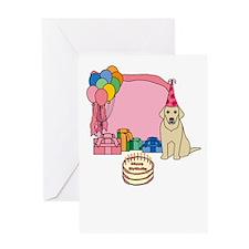 Yellow Lab Happy Birthday Cards (Pink) Greeting Ca