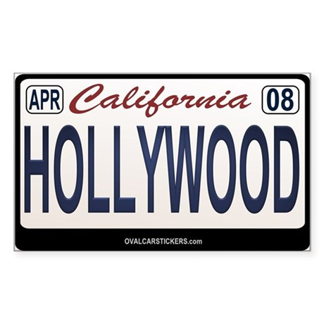California License Plate Sticker - HOLLYWOOD