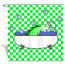 Dino in Bathtub (Green Checks) Shower Curtain