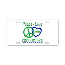 Peace Love Crocodiles Aluminum License Plate