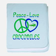 Peace Love Crocodiles baby blanket