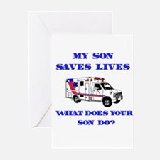 Ambulance Saves Lives-Son Greeting Cards (Package