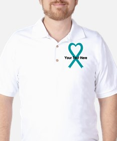 Personalized Teal Ribbon Heart Golf Shirt