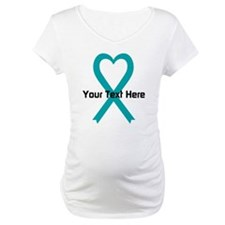 Personalized Teal Ribbon Heart Shirt