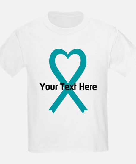 Personalized Teal Ribbon Heart T-Shirt