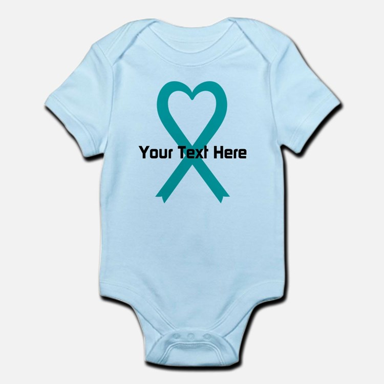Personalized Teal Ribbon Heart Body Suit