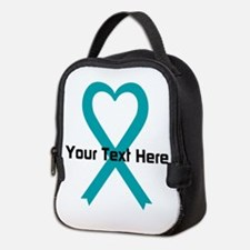 Personalized Teal Ribbon Heart Neoprene Lunch Bag