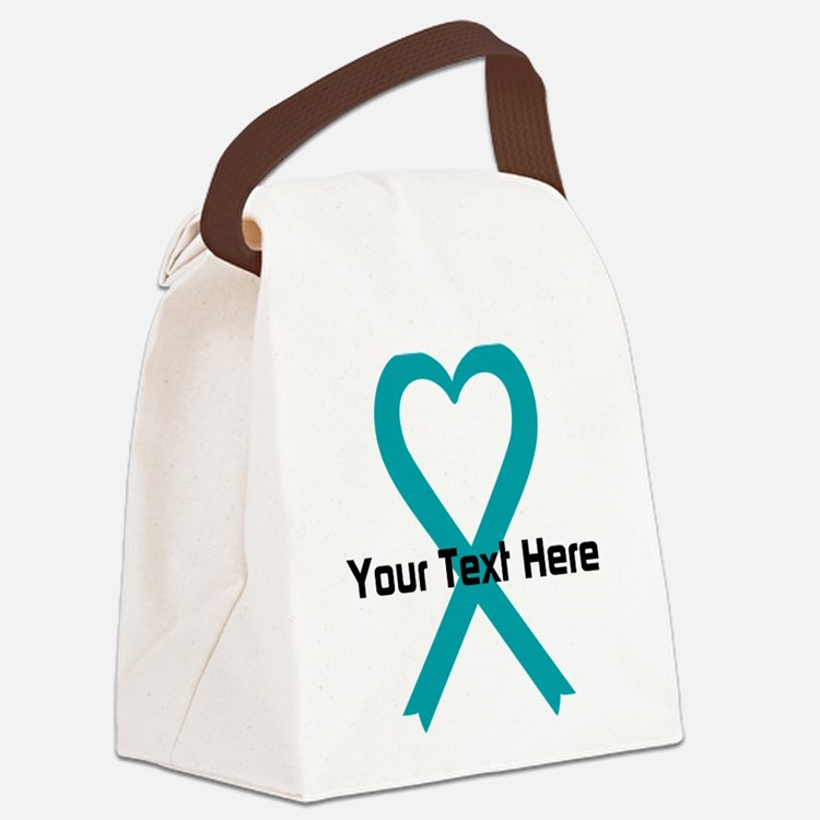 Personalized Teal Ribbon Heart Canvas Lunch Bag
