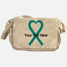 Personalized Teal Ribbon Heart Messenger Bag
