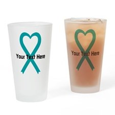 Personalized Teal Ribbon Heart Drinking Glass