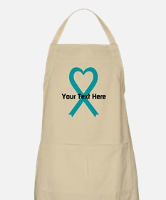 Personalized Teal Ribbon Heart Apron