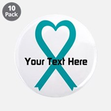 """Personalized Teal Ribbon Heart 3.5"""" Button (10 pac"""